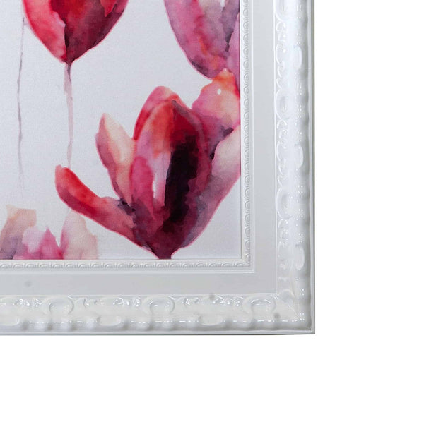 Pink-purple flower framed Textile Art
