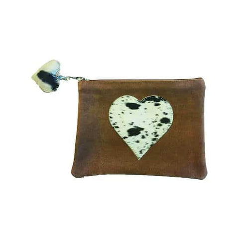 Brown Pouch with black detailed Heart