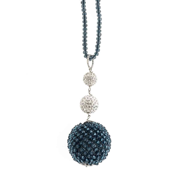 Dark Grey Ball Crystals Necklace