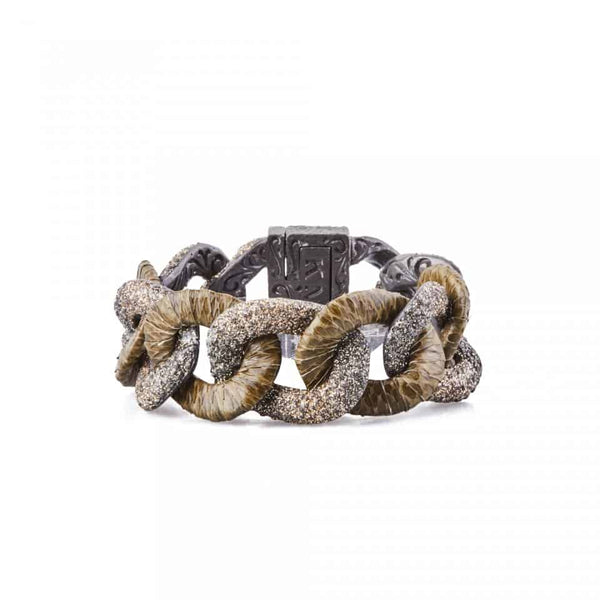 Chain Snakeskin and Kamelite Bracelet