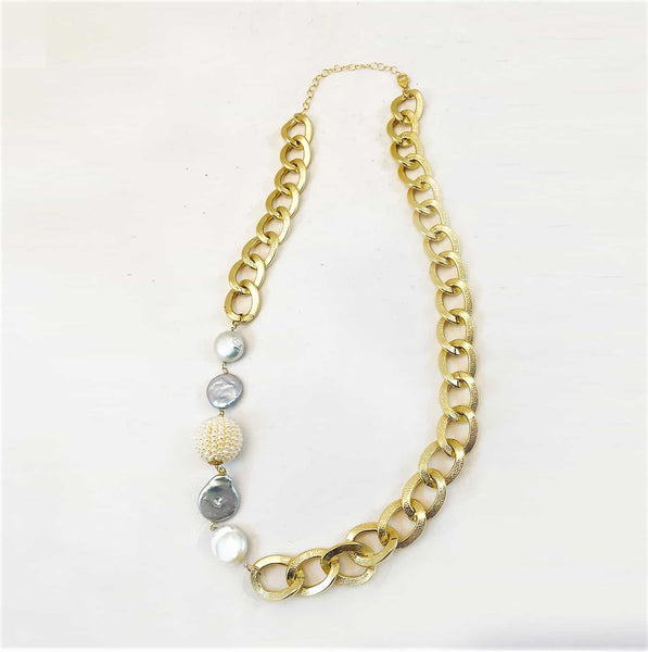 Brass Chain with Pearls Necklace