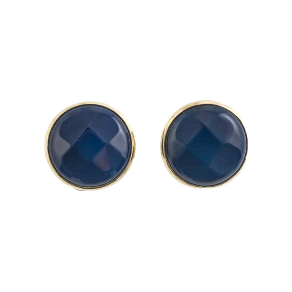 Blue Agate Stud Earrings