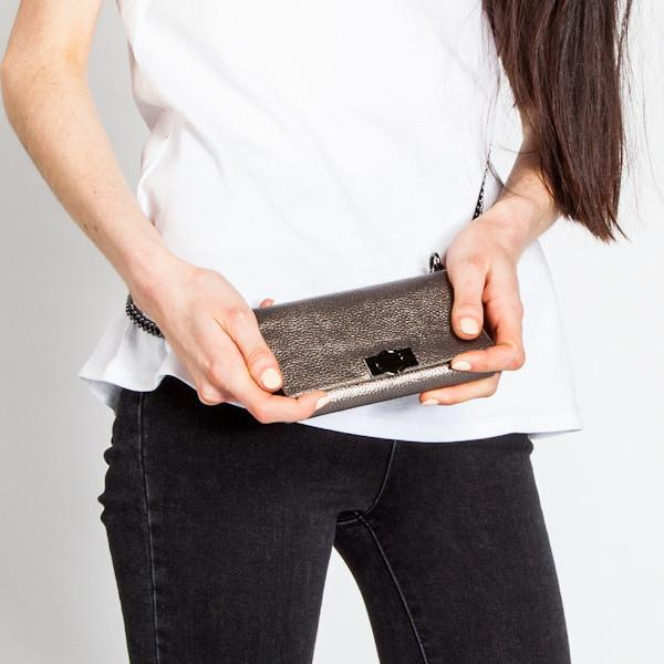 Silver Leather iPhone Bag