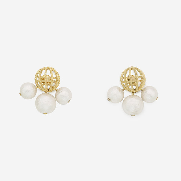 Gold And White Pearl Earrings