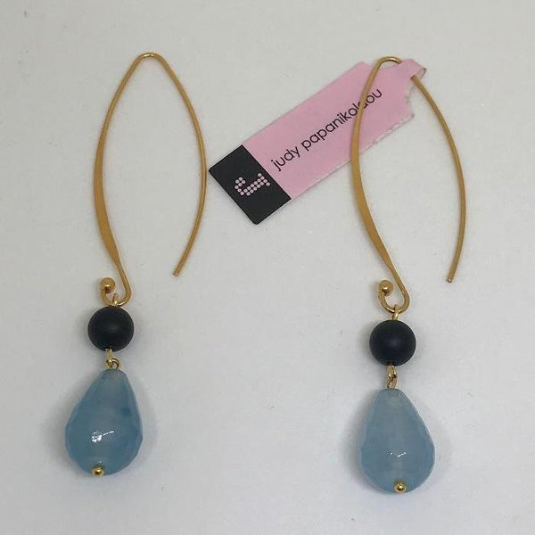 Onyx & Jade Gold Dangle Earrings