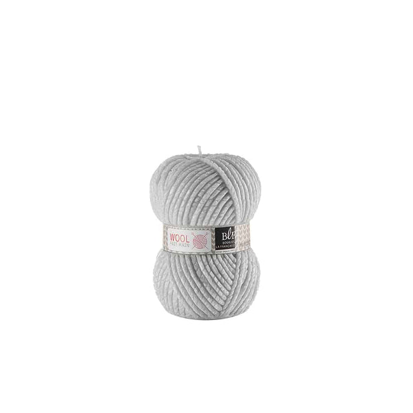 Wool Candle small in light grey