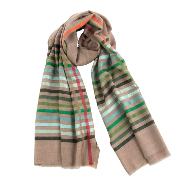 Beige Green Striped Cashmere Pashmina