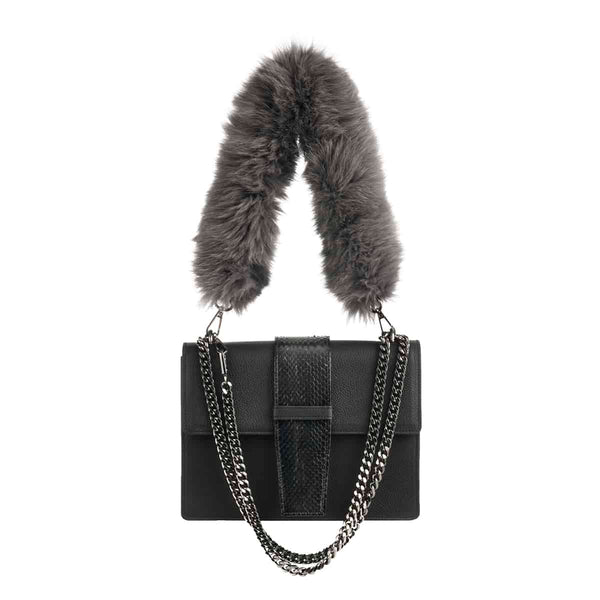 Grey Fur Strap for Bags