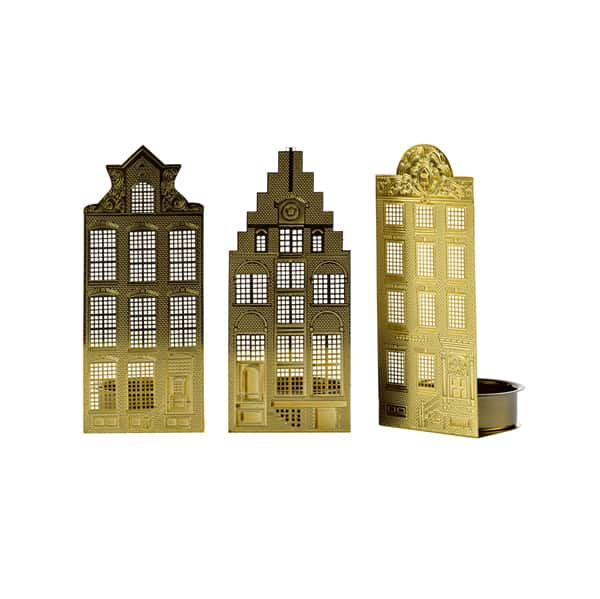 Set of 3 Gold plated Candle Houses