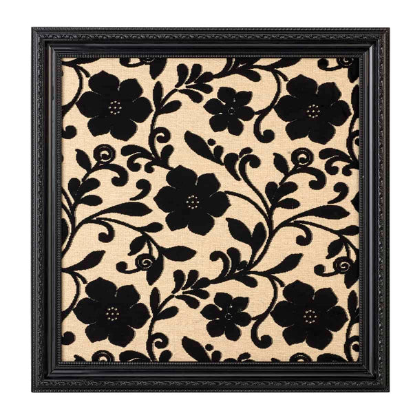 Black and Ivory Flowery Fabric Frame