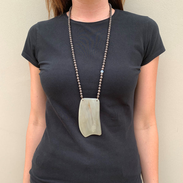 Buffalo Ivory Misty Crystals Long Chain Necklace