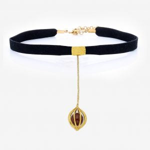 Maia Filigree & Marsala Red Stone Gold Necklace on Black Choker