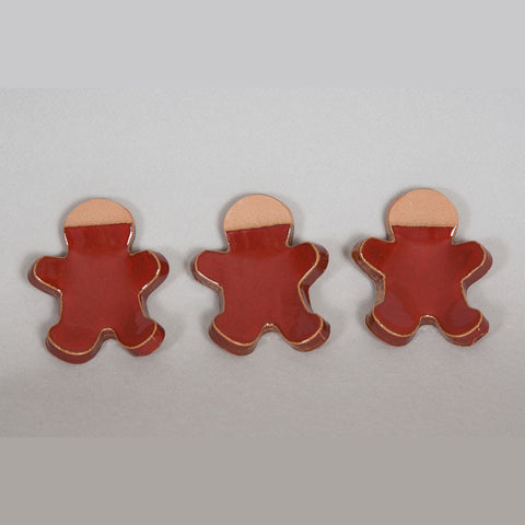 Ceramic Red Figure Candle Holders, 3 pieces