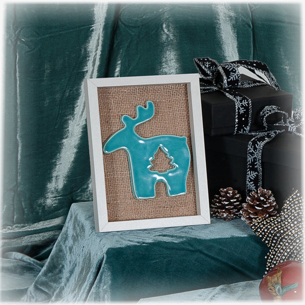 Ceramic Turquoise Reindeer in Wooden Frame