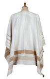 White & Gold Beige Double-Face Poncho by Pierre Quioc