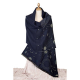 Navy Blue Shawl With Gold Starts & Planets by Pierre Quioc