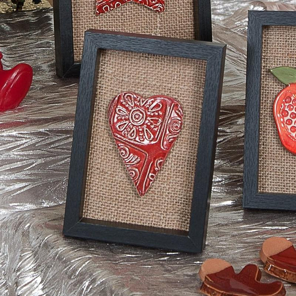 Ceramic Red Heart in Wooden Frame