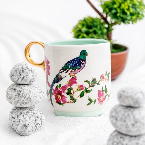 Parrot Turquoise & Gold Ceramic Medium size Mug