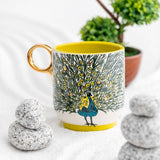 Peacock Yellow & Gold Ceramic Medium size Mug