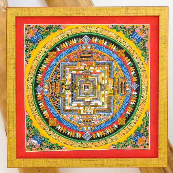 Hand Painted Sand Art Small Red Mandala, 35x35cm