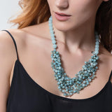 Blue Achate & Turqoise Crystals Macrame Necklace