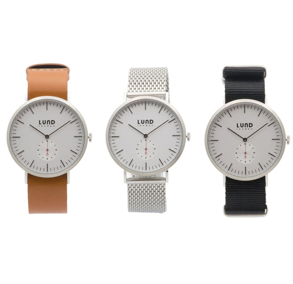 Silver Watch on Leather, Silver or Black Nato Straps