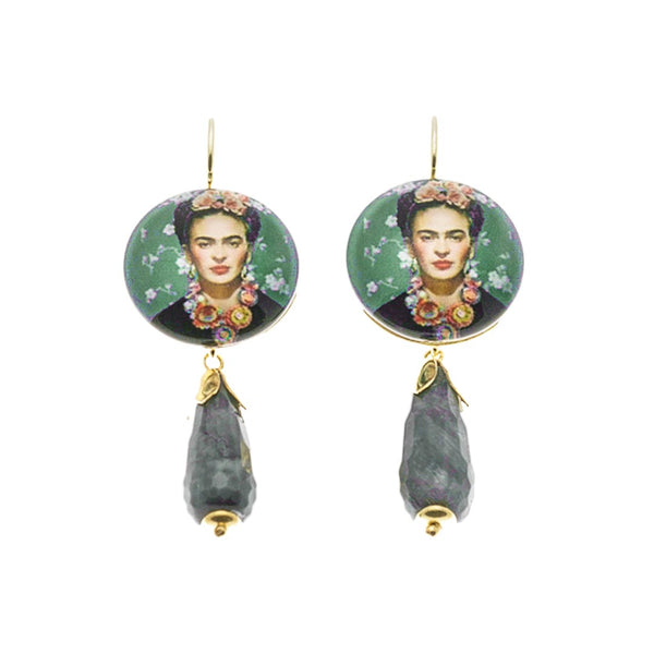 Frida Earrings with Grey Agate