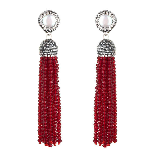 Red Beaded strands Earrings