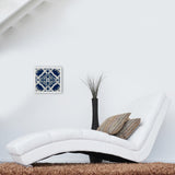 Blue Tile Fabric in White Wooden Frame
