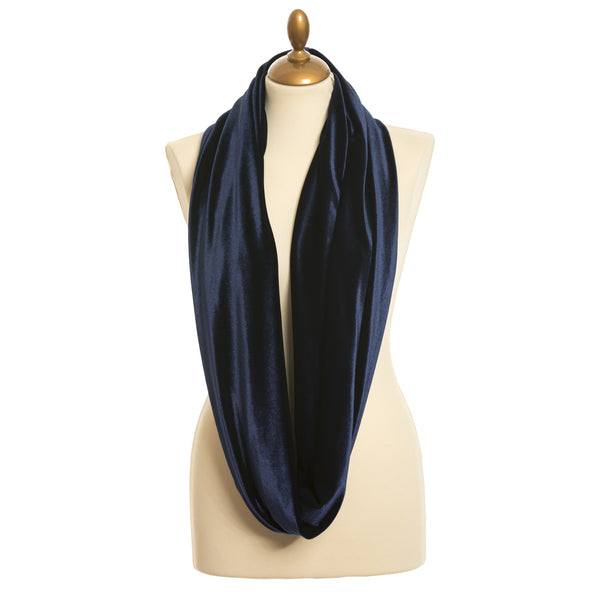 Midnight Blue Velvet Infinity Scarf