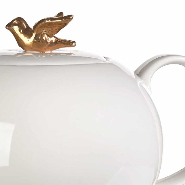 Porcelain Teapot with a Gold Bird