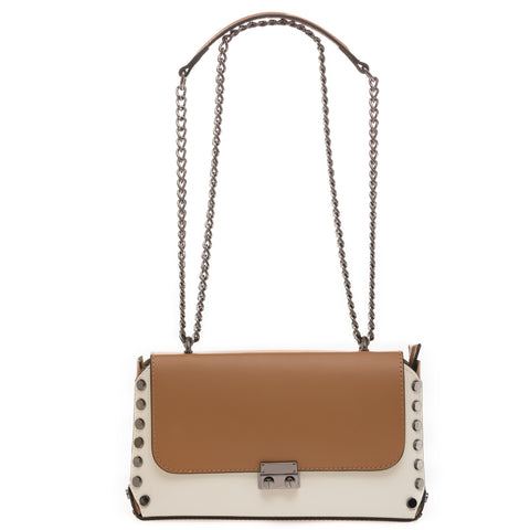Cognac-White Shoulder Bag