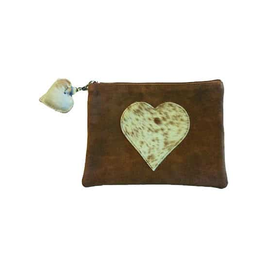 Brown Pouch with brown detailed Heart