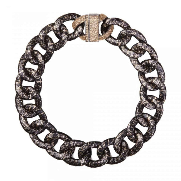 Cream on Black Oval Chain Snakeskin Necklace