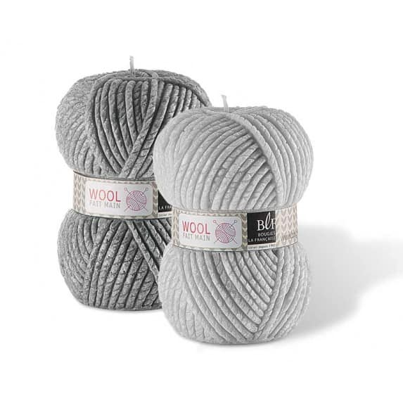 Wool Candle Small in Dark Grey