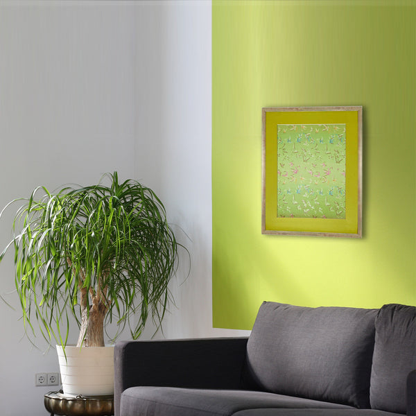 Green Chinese Butterflies in Large Wooden Frame