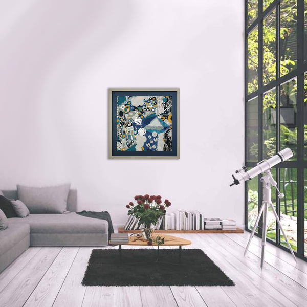 Klimt Blue Fabric Wall Art on Large Silver Frame