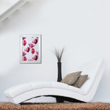 Pink & Purple Flowers Fabric in White Lacquered Large Wooden Frame