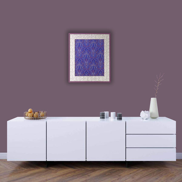Purple Chinese Fabric Art in Large Wooden Frame