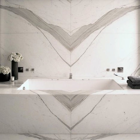 book matched marble bathroom