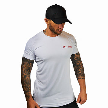 O-Neck Redback White Tee (Red Logo) - Redback Liftwear