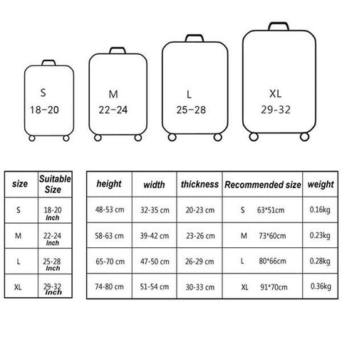luggage cover protector size chart