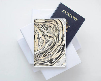 Marble Leather Passport Cover