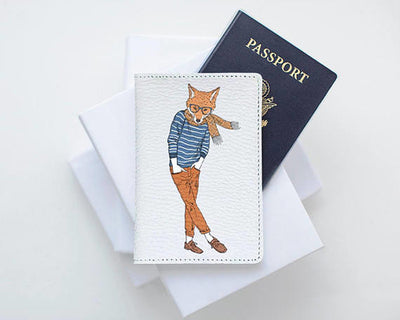 Fox Painting Animal Leather Passport Cover