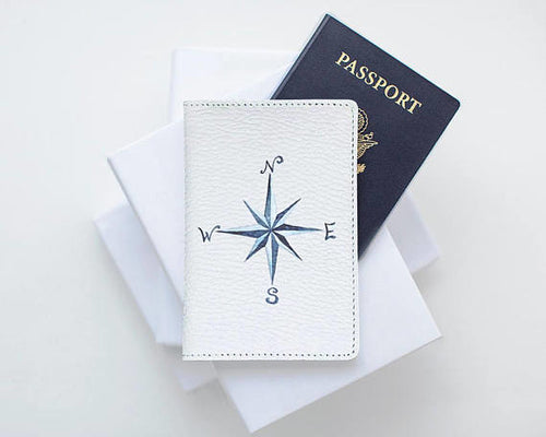 Wind Rose Leather Passport Cover
