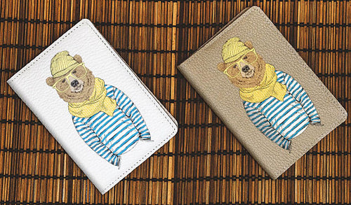 Bear Hipster Leather Passport Cover