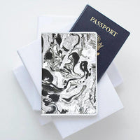 Marble Pattern Leather Passport Cover