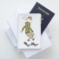 Hare Skater Leather Passport Cover