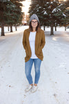 Ladies Cardi - Ribbed Sweater Knit - Heathered Mustard