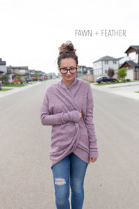 Ladies Cardi - Ribbed Sweater Knit - Heathered Mauve